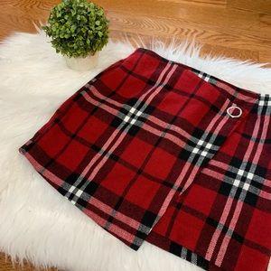 Divided plaid mini skirt